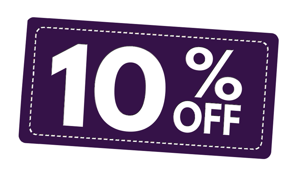 A purple background with white stitching boarder and 10% off written in white