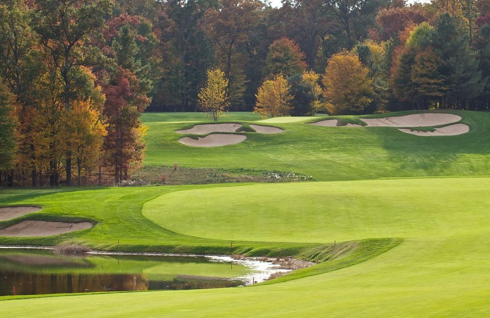 A golf course in autumn