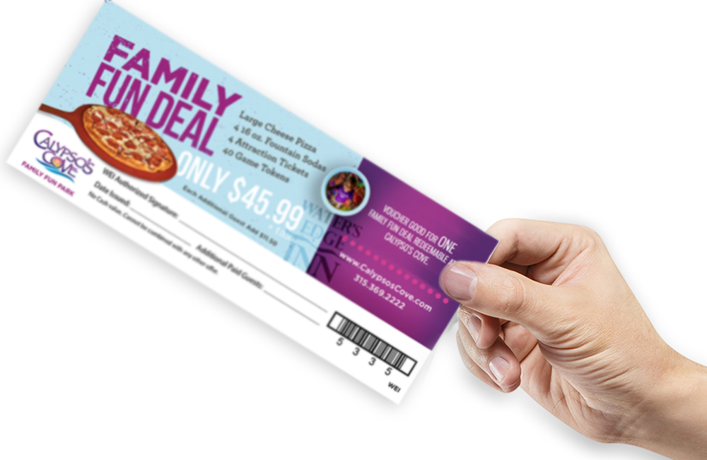 A hand holding a calypso's cove family fun deal coupon that says large cheese pizza, 4, 16oz fountain sodas4 attraction tickers, 40 game tokens, only $45.99
