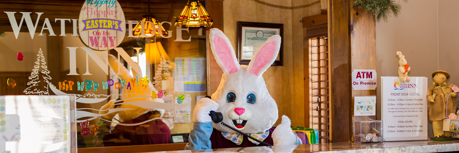 the easter bunny answering the phone at waters edge inn