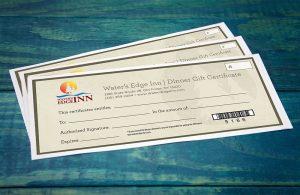 Waters edge inn dinner certificates