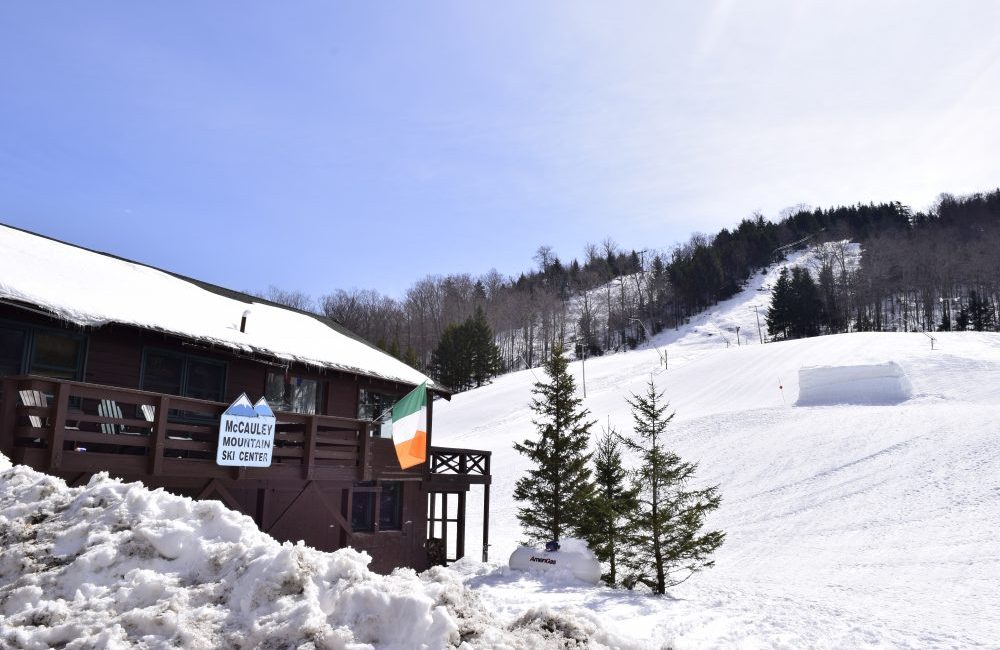McCauley Mountain Ski Center from the outside in winter