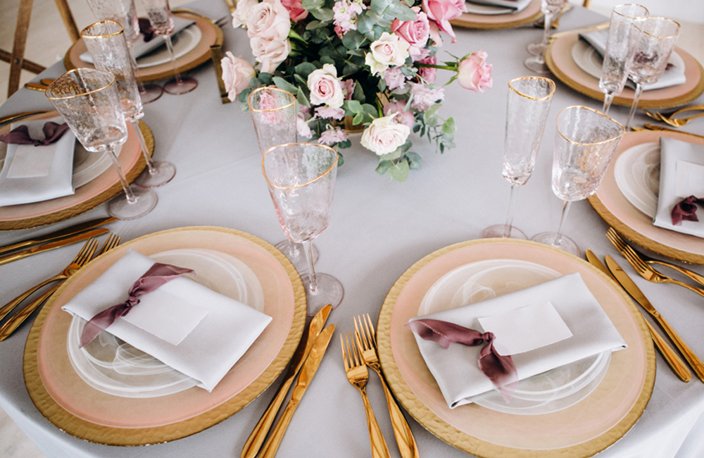 place settings at a wedding table