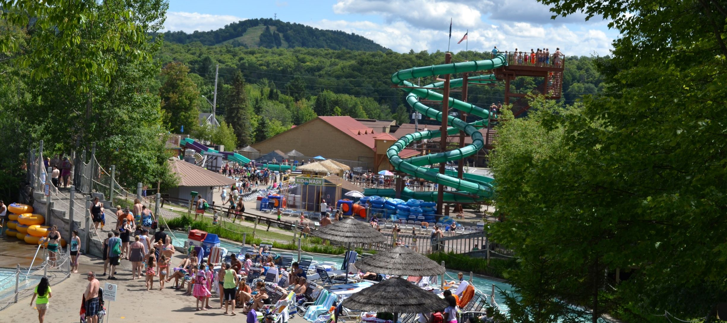 Water slide, outdoors, nature, people